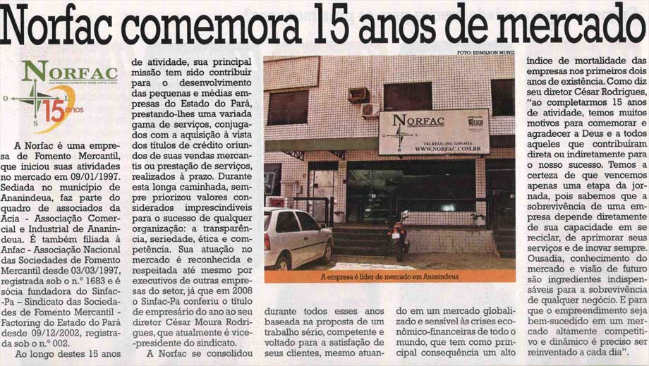 Norfac comemora 15 anos de mercado