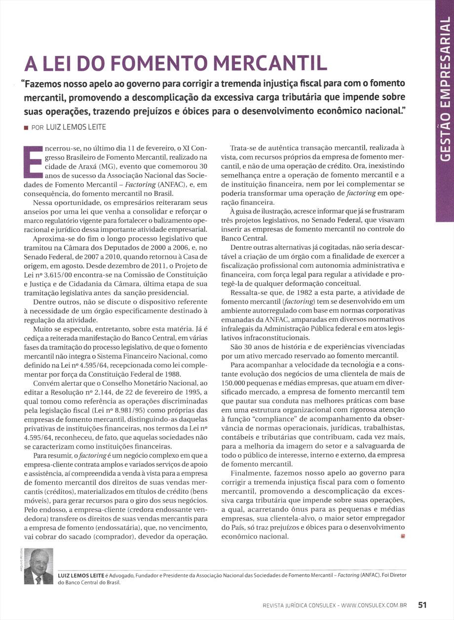 Foto da matéria de Luiz Lemos Leite para a revista jurídica Consulex